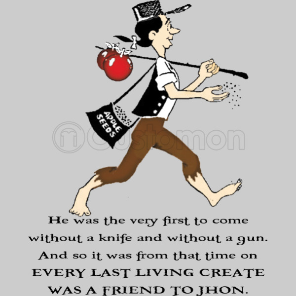 johnny appleseed men s t shirt customon com rh customon com Johnny Appleseed Coloring Paes Johnny Appleseed Clip Art Black and White