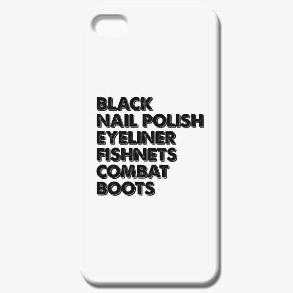 Black Nail Polish eyeliner fishnets combat boots iPhone 5/5S Case ...
