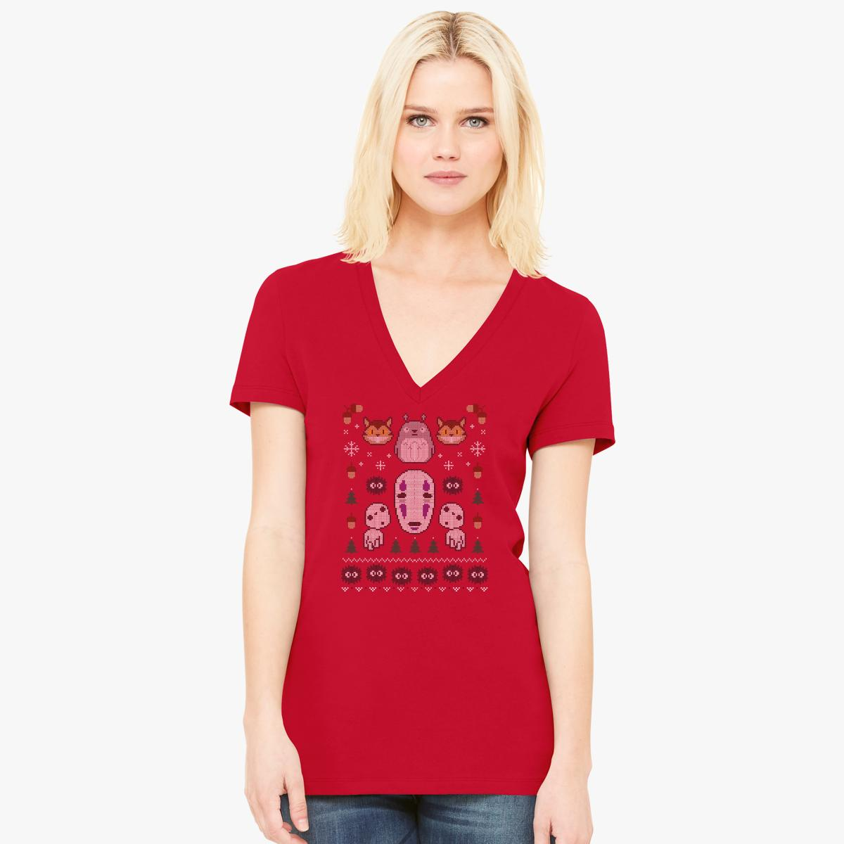Spirited Away ugly sweater Women's V-Neck T-shirt | Customon.com
