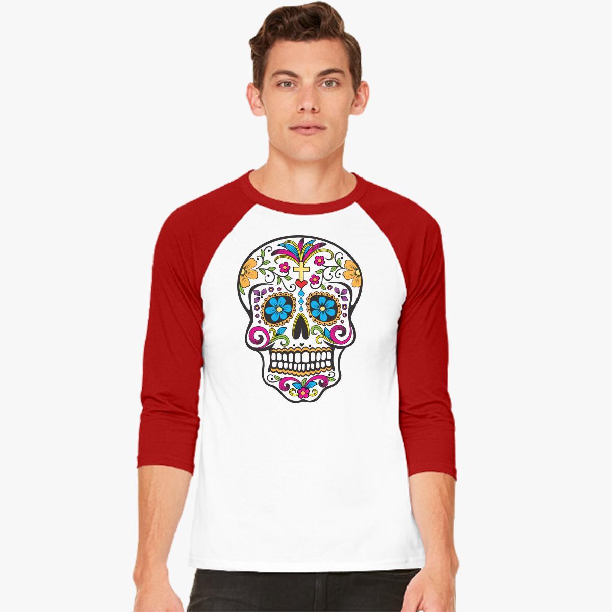 skull color flowers Baseball T-shirt   Customon.com
