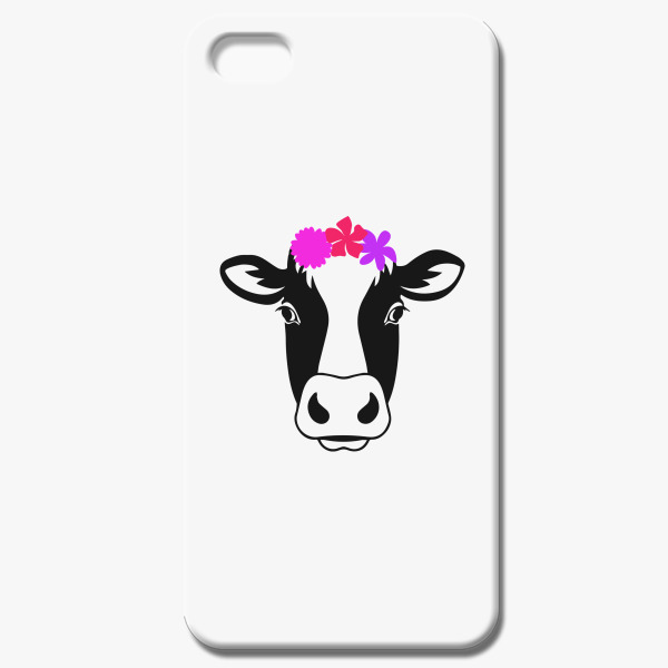 Cow Head With Flowers Silhouette Iphone 55s Case Customon