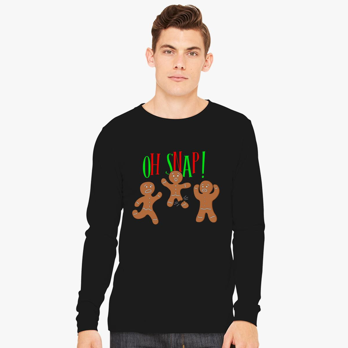 Oh Snap Funny Christmas Ginger Bread Man Cookie Long Sleeve T-shirt ...