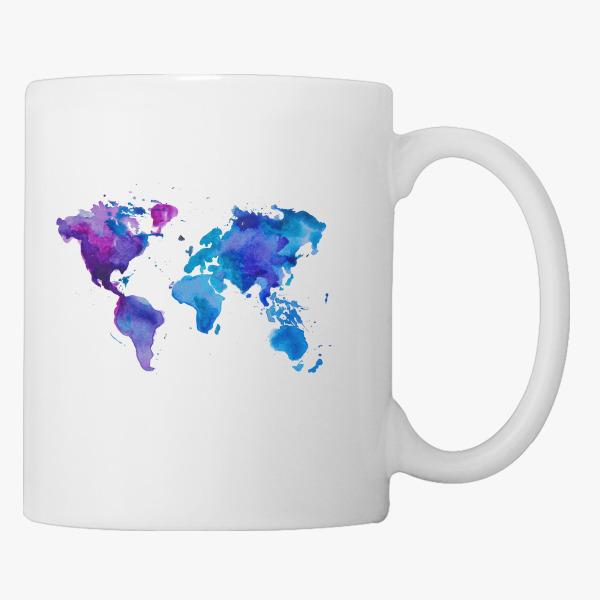 Watercolor Map of the World Coffee Mug | Customon.com