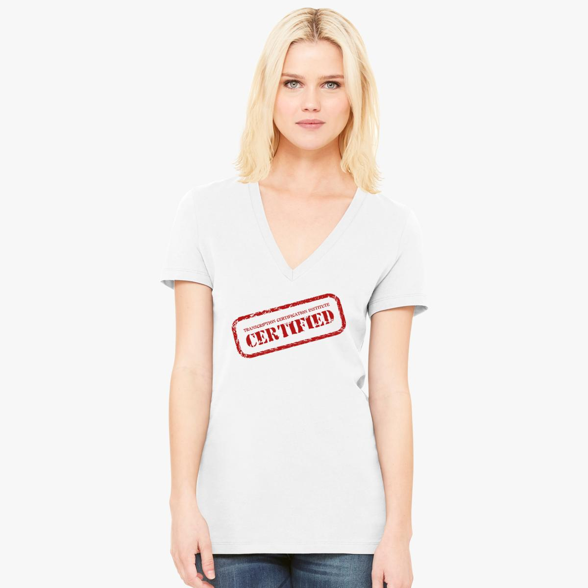 Certified stamp womens v neck t shirt customon certified stamp womens v neck t shirt xflitez Image collections
