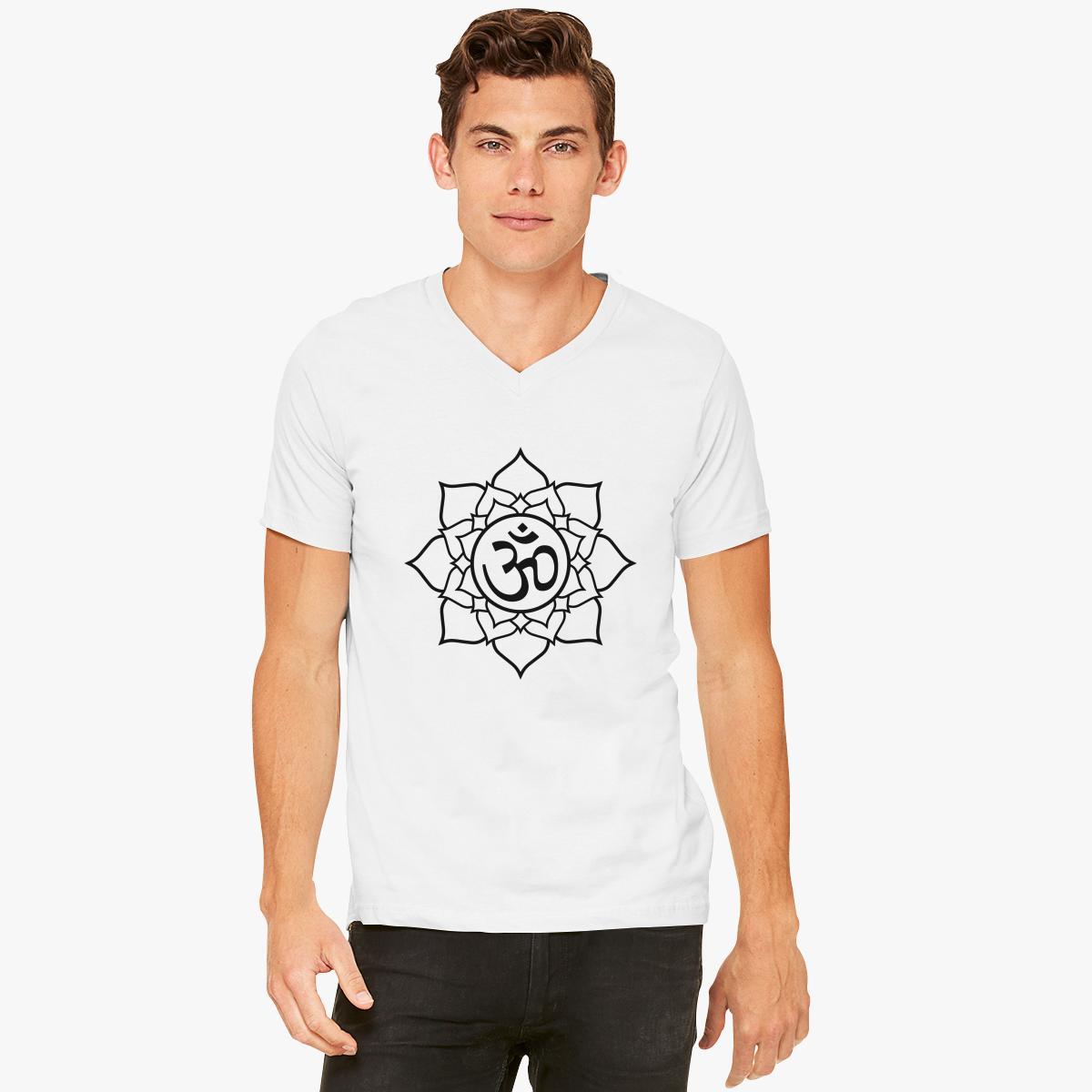 Om lotus flower v neck t shirt customon om lotus flower v neck t shirt izmirmasajfo