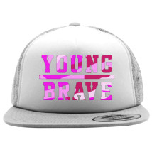 9158a28c0ec YOUNG BRAVE - CAMO PINK Foam Trucker Hat - Customon.com