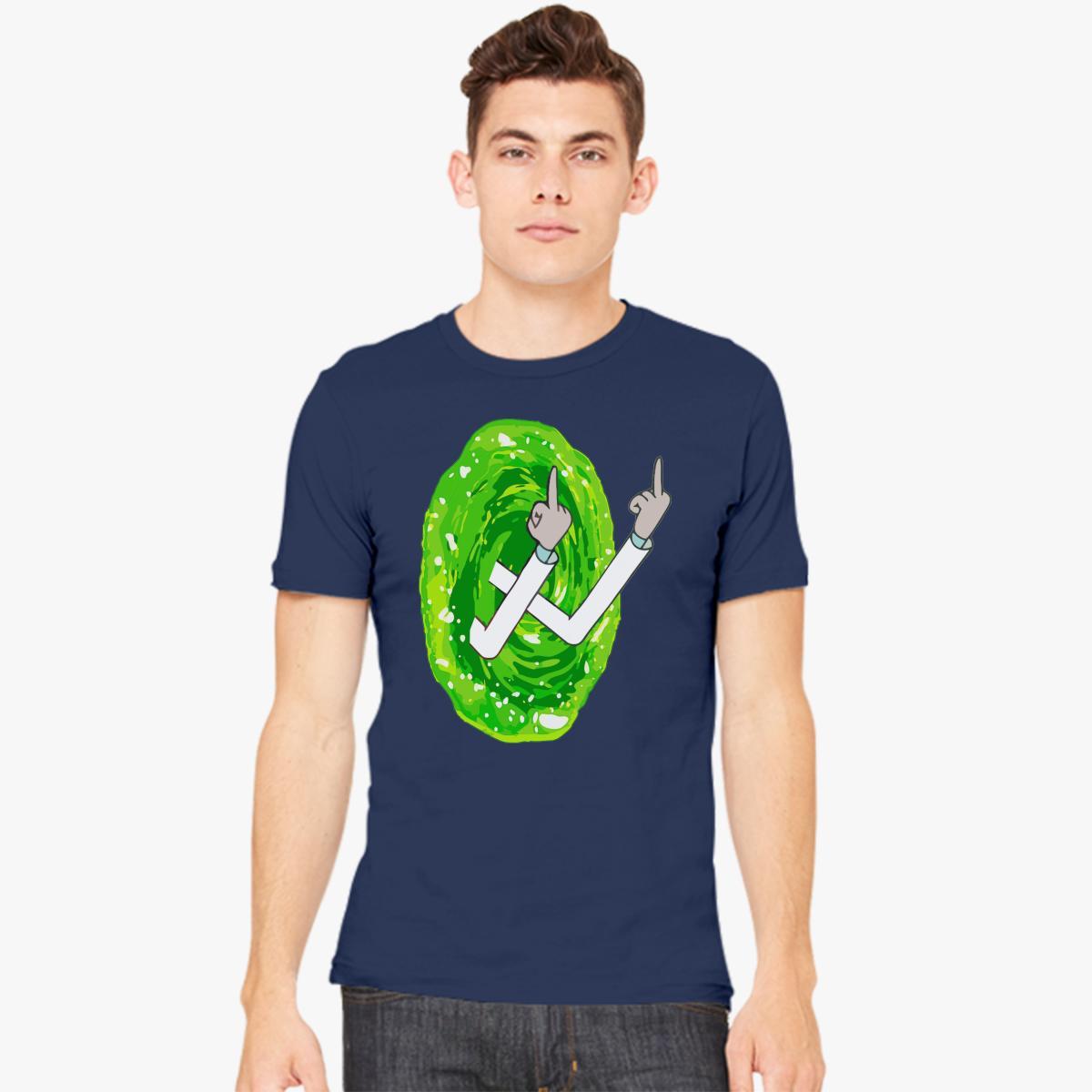 Flipping off through portal Men's T-shirt