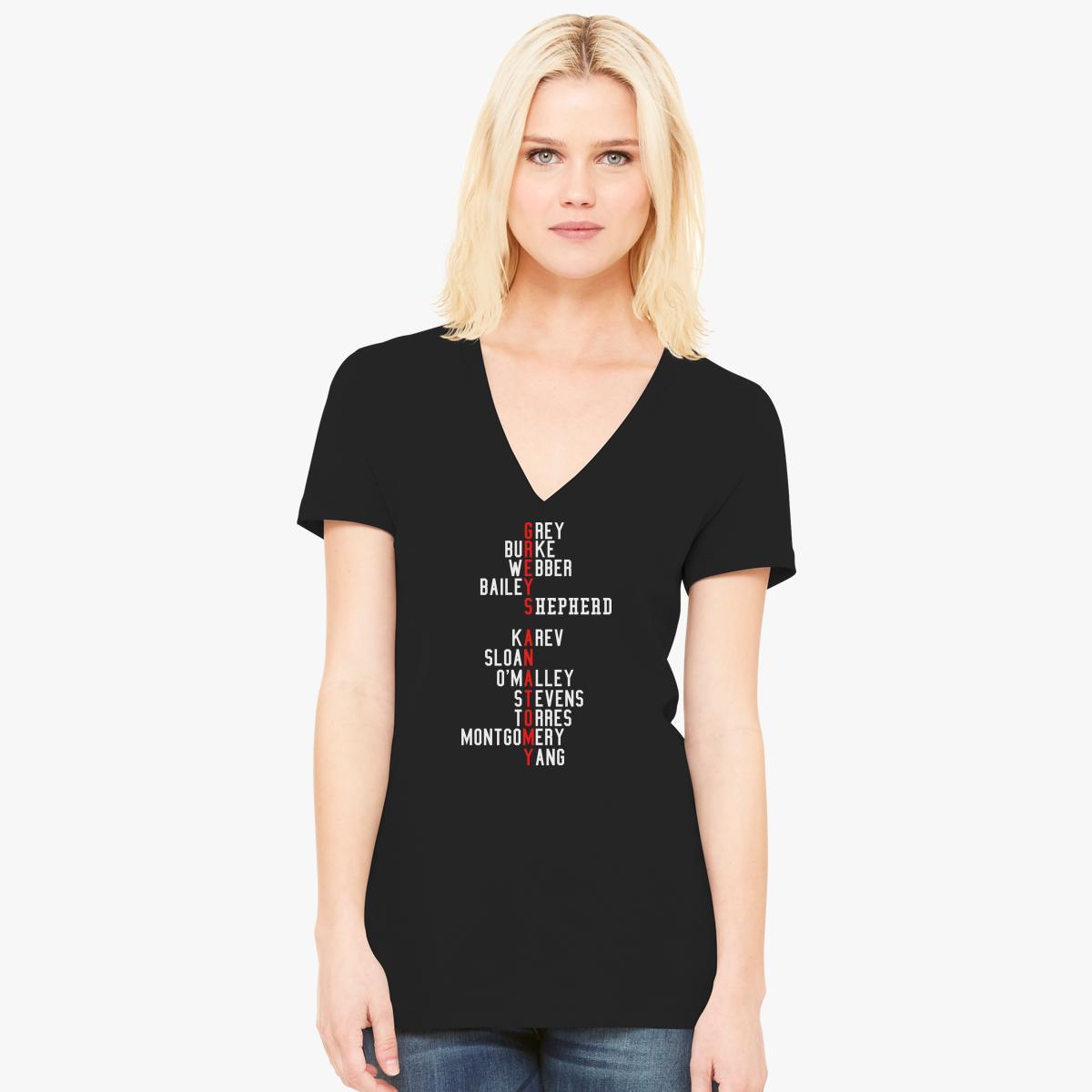 Grey\'s Anatomy Early Cast Names Women\'s V-Neck T-shirt   Customon.com